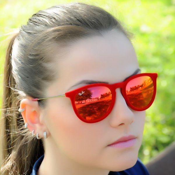 c99d3fcfab0da Óculos Ray Ban RB4171 Erika Vermelho de Veludo Espelhado - MODA PRAIA