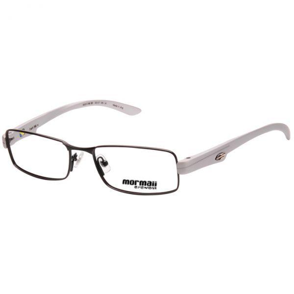 Armação Óculos de Grau Mormaii Capri NG IV Metal Médio Preto com Prata  Fosco Unissex 40eeb8fa16