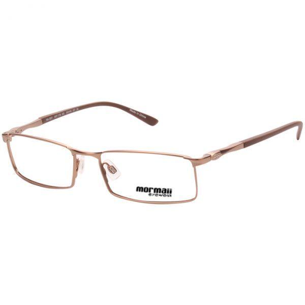 db7a4bc420fb2 Armação Óculos de Grau Mormaii MO 1517 Metal Médio Marrom Claro Fosco  Unissex