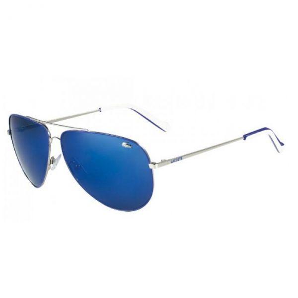570e70a6b Óculos Lacoste L129S Metal Médio Prata com Azul - Site moda